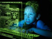 imagen simulada de un niño que abusa del ordenador