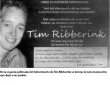 Esquela del fallecimiento de Tim Ribberink